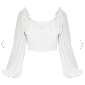 Puffy Sleeve Mesh Top