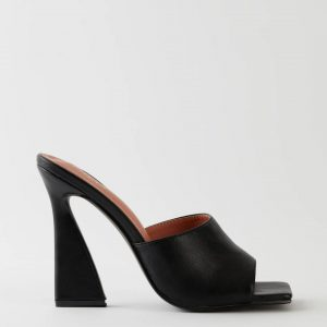Oh Polly Black Leather Mule Heels